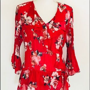 NY Collection Red Floral Semi Sheer Blouse Large